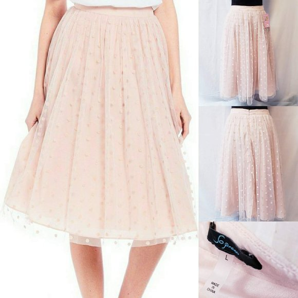 Soprano Dresses & Skirts - Soprano Mesh Overlay Polka Dot Blush Skirt L💋